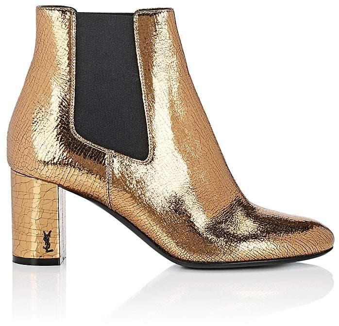 Saint Laurent Women's Craquelé Leather Ankle Boots