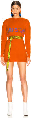 Alberta Ferretti Thursday Crewneck Sweater Dress in Orange & Purple | FWRD