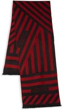 Versace Optical Stripe Wool Blend Scarf
