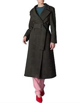 Bianca Spender Olive Brocade Stirling Coat