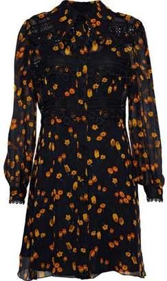Anna Sui Guipure Lace-Trimmed Floral-Print Georgette Mini Dress