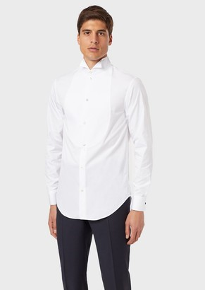 Emporio Armani Poplin Shirt With Bib Front In A Honeycomb Weave