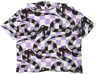 White Snake Printed Hooded Cotton Sweatshirt