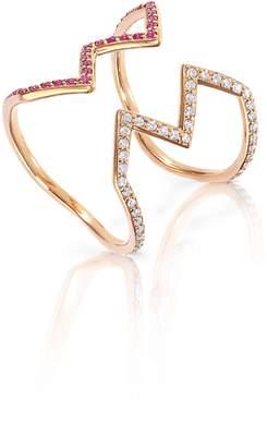 Sabine Getty Baby Memphis Open Ziggy Diamond & Pink Sapphire Ring