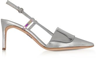 Rodo Silver Leather Women's Slingback Pumps