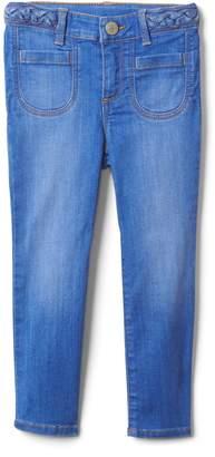Gap Superdenim Braid-Belt Skinny Jeans with Fantastiflex