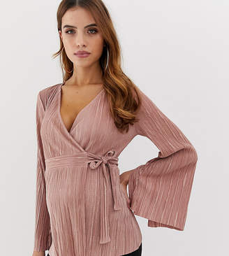 Asos DESIGN Maternity wrap top in plisse with tie side in dusky pink