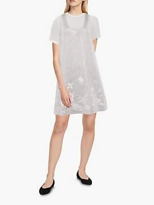 French Connection Ello Sparkle Mini Dress, Winter White/Silver