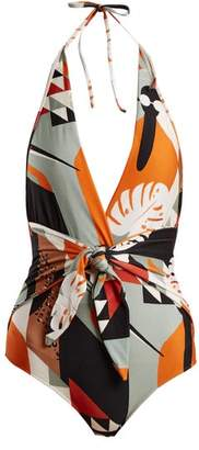 Adriana Degreas - Tropical Print V Neck Knot Swimsuit - Womens - Black Multi
