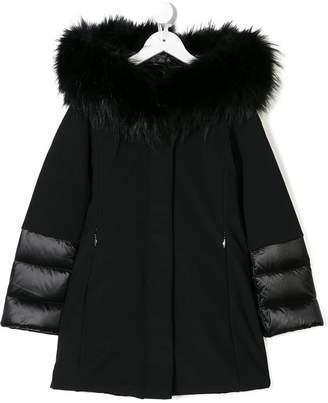 Rrd fur hooded coat