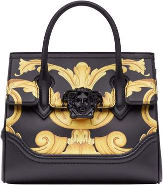 Versace Palazzo Empire Medium Baroque Print Leather Satchel