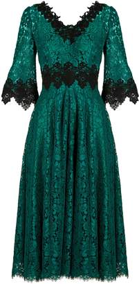Dolce & Gabbana Teal-green V-neck lace midi dress