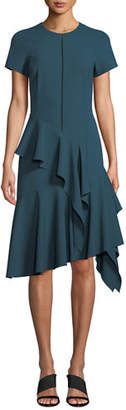 Josie Natori Short-Sleeve Jewel-Neck Asymmetric Ruffle Bi-stretch Dress