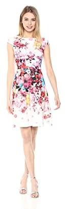 Adrianna Papell Women's Spring in Bloom Printed Scuba Fit and Flare Dress