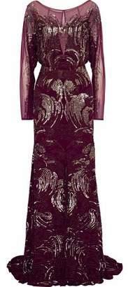Jenny Packham Tulle-paneled Embellished Silk Crepe De Chine Gown