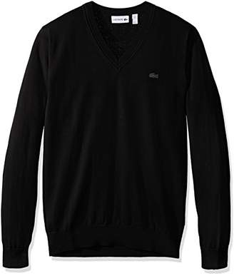 Lacoste Men's Cotton Jersey V Neck Sweater with Pique Stitch Details