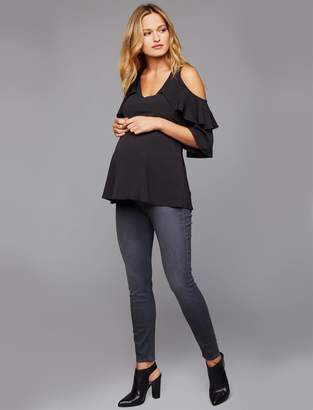 7 For All Mankind Pea Collection Secret Fit Belly B(air) Ankle Skinny Maternity Jeans- Smoke Grey