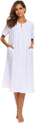 Ekouaer Lounge Robe Women's Casual Short Sleeve Housecoats and Dusters (,M)