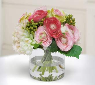 Pottery Barn Faux Rose and Hydrangea in Cylinder Vase