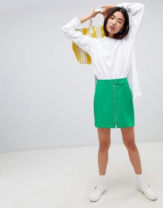 Asos Design DESIGN tailored uber mini skirt with zip through