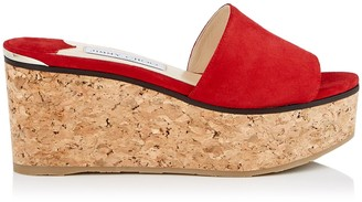 Jimmy Choo DEEDEE 80 Red Suede Sandal Wedges