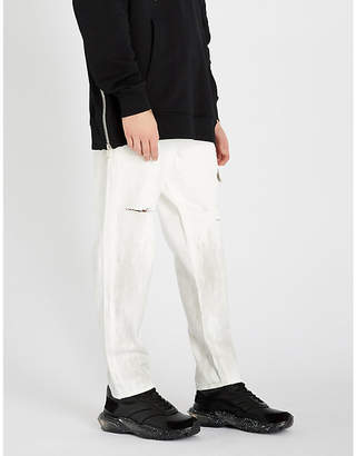 Balmain Dropped-crotch regular-fit ripped straight-leg jeans