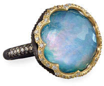 Armenta Old World Scalloped Peruvian Opal Triplet Ring with Diamonds, Size 6.5
