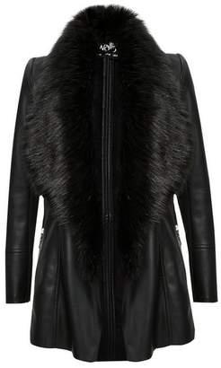 Wallis Black Faux Fur Collar Jacket
