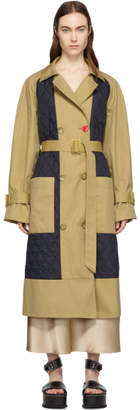 Tibi Beige Twill Quilted Mix Finn Trench Coat
