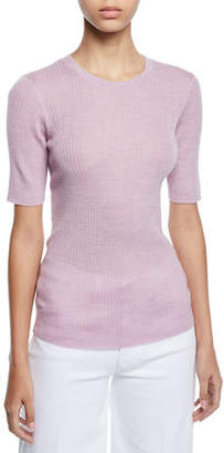 Frame Short-Sleeve Ribbed Crewneck Sweater