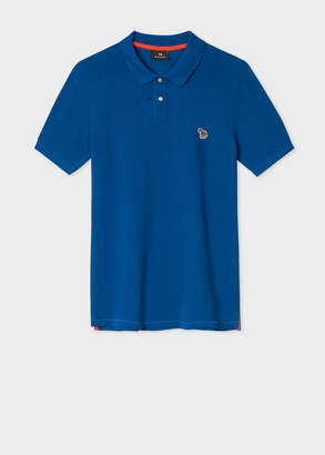 Paul Smith Men's Cobalt Blue Organic Cotton-Pique Zebra Logo Polo Shirt