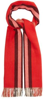 Burberry Reversible Icon Striped Cashmere Scarf - Womens - Red
