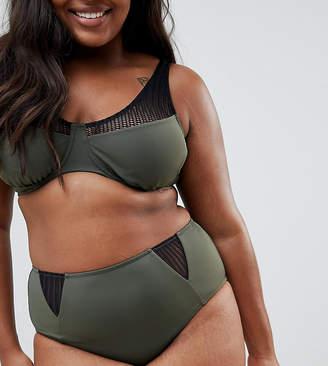 Zizzi high waist bikini bottom with mesh detail