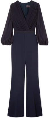 Max Mara Belted Silk-chiffon And Cady Jumpsuit - Navy