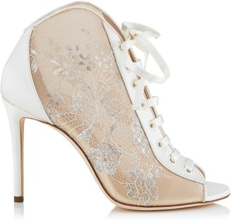 Jimmy Choo FREYA 100 White Lace and Satin Ivory Peep Toe Booties