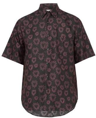 Cobra S.C. Cobra S.c. - Heart Print Short Sleeved Cotton Blend Shirt - Mens - Black Pink