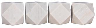 Noir Set of 4 Polyhedron Marble Candleholders - White