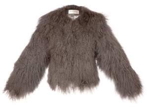 Sabrina Popski London Shearling Jacket In Dove Grey