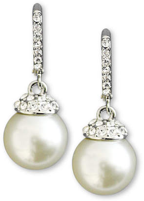 Givenchy Earrings, Crystal Accent and White Glass Pearl