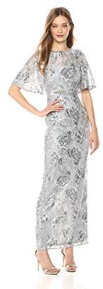 Adrianna Papell Women's 3/4 Sleeve Metallic Sequin Embroidered Gown,2