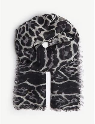 Saint Laurent Leopard spot cashmere-silk blend scarf