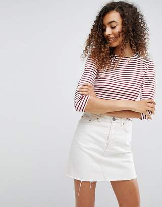 ASOS Crop T-shirt In Stripe With 3/4 Sleeves $23 thestylecure.com