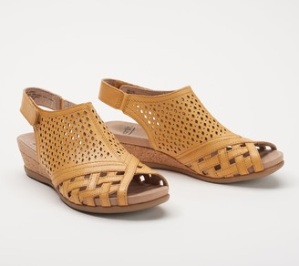 d08e0547017 Earth Leather Perforated Wedge Sandals- Pisa Galli