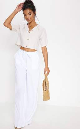 PrettyLittleThing Stone Cropped Short Sleeve Button Shirt