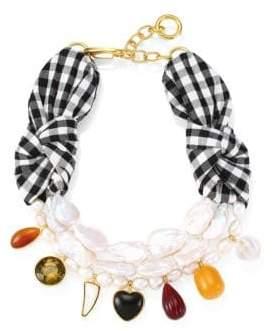 Lizzie Fortunato Carolina 18K Goldplated, Gingham Silk, 20-23MM Freshwater Cultured Pearl & Multi-Stone Necklace