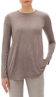 Lafayette 148 New York Lexia Crewneck Long-Sleeve Featherweight Jersey Top