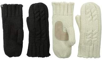 Isotoner Women's Chunky Cable Knit Cold Weather Mittens with Warm
