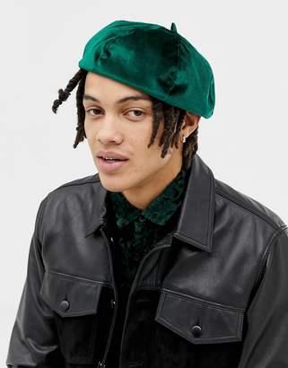 Asos DESIGN beret in green velvet