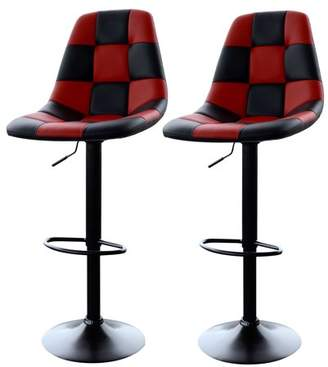 AmeriHome Red Checkered Racing Bar Chairs - 2 Piece