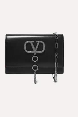 Valentino Garavani Vcase Small Crystal-embellished Leather Shoulder Bag - Black